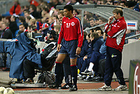 Fotball, 28. april 2004, Privatlandskamp, Norge-Russland 3-2, John Carew, og Åge Hareide, Norge