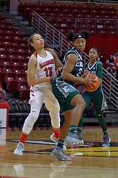 10 December 2017: Danielle Minott defended by Katrina Beck during an College Women's Basketball game between Illinois State University Redbirds and the Eagles of Eastern Michigan at Redbird Arena in Normal Illinois.