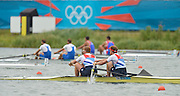 Eton Dorney, Windsor, Great Britain,..2012 London Olympic Regatta, Dorney Lake. Eton Rowing Centre, Berkshire[ Rowing]...Description;  GBR M2- Bow George NASH and Will SATCH approaching the finish line  Dorney Lake  11:16:36   Wednesday  01/08/2012..[Mandatory Credit: Peter Spurrier/Intersport Images].