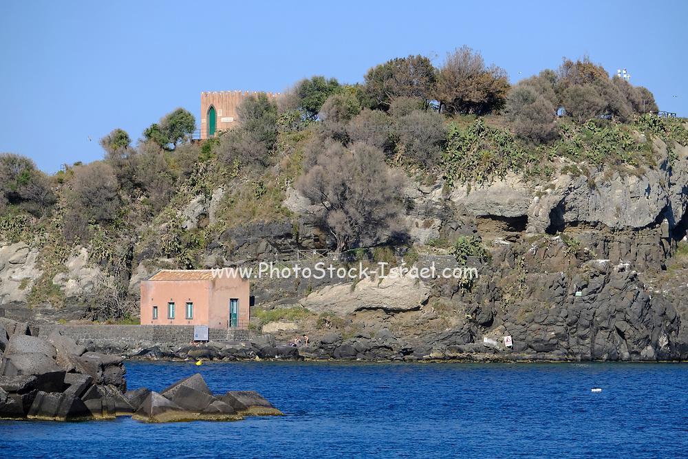 Seascape of Cyclopean Isles, Aci Trezza, Aci Castello, Province of Catania, Sicily, Italy