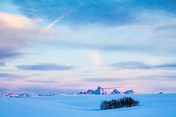Winter Sunset, Ashton Idaho. The undulating hills of the potato farming region of eastern Idaho