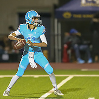 Hillsdale #11 JP Lyssenko vs The King's Academy in a Peninsula-Ocean Football Game at The King's Academy, Sunnyvale CA on 9/28/18. (Photograph by Bill Gerth)(TKA 47 Hillsdale 0)
