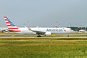 American Airlines, Boeing 767-323ER. Photographed at Linate airport, Milan, Italy