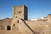 Historic walled castle in hilltop village of Monsaraz, Alto Alentejo, Portugal, southern Europe