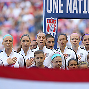 The U.S. Women's National Team sing the National Anthem before the U.S. Women's National Team Vs Korean Republic, International Soccer Friendly in preparation for the FIFA Women's World Cup Canada 2015. Red Bull Arena, Harrison, New Jersey. USA. 30th May 2015. Photo Tim Clayton