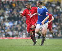 Photo: Mark Stephenson.<br /> Birmingham City v Cardiff City. Coca Cola Championship. 04/03/2007.Cardiff's Matthew Green and Birmingham's Martin Taylor wade through the water loged pitch