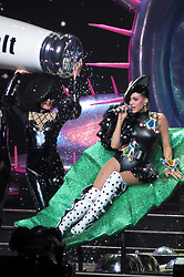 Katy Perry puts on an energetic performance in Vancouver with colorful array of outfits. Katy arrived for the final leg of her North American Witness Tour in Vancouver, Canada. Katy was recording the show for promotional purposes and put on an extravagant performance, which included fighting with the famous 'Left Shark' from the Superbowl she performed at 2 years ago. Katy was seen getting dragged around the floor before performing a karate kick. Katy was seen wearing several different revealing outfits throughout the night and included spectacular stage effects for the sell out crowd at Rogers Arena in Canada. 05 Feb 2018 Pictured: Katy Perry. Photo credit: MEGA TheMegaAgency.com +1 888 505 6342