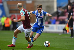 West Ham United's Pablo Zabaleta (left) and Wigan Athletic's Callum Elder compete for possession during the Emirates FA Cup, fourth round match at the DW Stadium, Wigan.