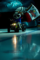 KELOWNA, BC - DECEMBER 18: Kelowna Rockets' mascot Rocky Raccoon enters the ice on his Polaris Sportsman ATV against the Vancouver Giants at Prospera Place on December 18, 2019 in Kelowna, Canada. (Photo by Marissa Baecker/Shoot the Breeze)