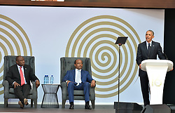 Former US president Barack Obama delivers the  Nelson Mandela annual lecture at Wanderers Stadium, president Cyril Ramaphosa and businessman Patrice Motsepe, Gauteng.<br />Picture: Itumeleng English/African News Agency (ANA)