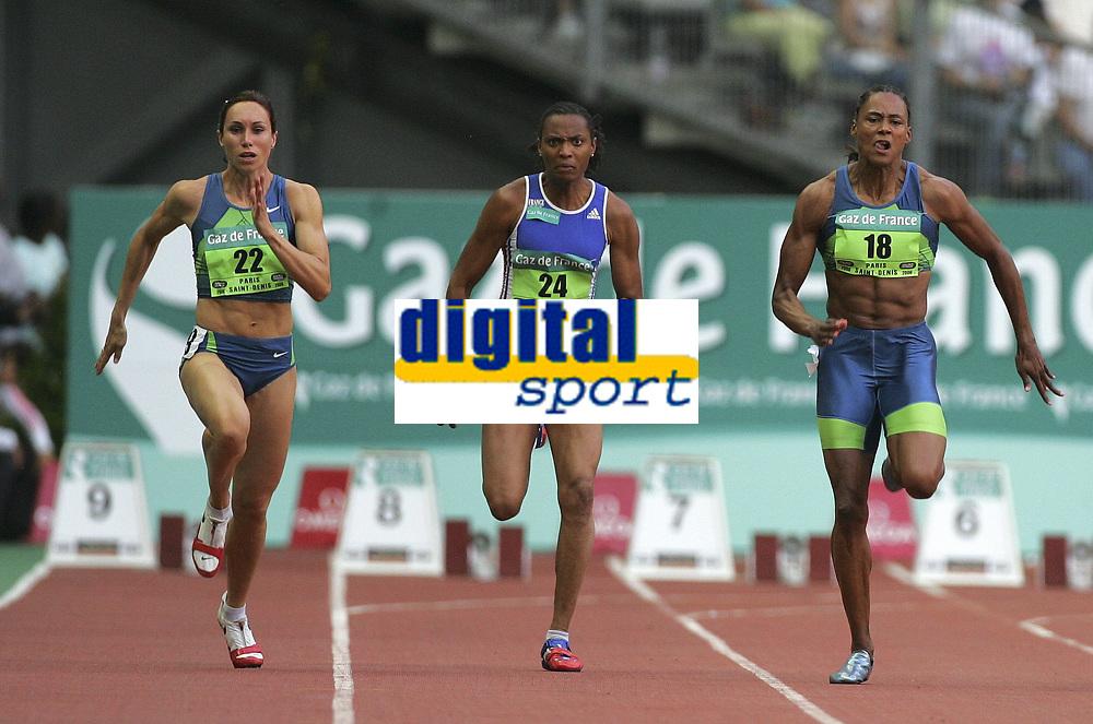 Friidrett<br /> IAAF Golden League 2006<br /> Paris 08.07.2006<br /> Foto: PhotoNews/Digitalsport<br /> NORWAY ONLY<br /> <br /> MEETING GAZ DE FRANCE PARIS SAINT-DENIS /<br /> 100M - WOMEN KIM GEVAERT - MARION JONES - 24 SYLVIANE FELIX