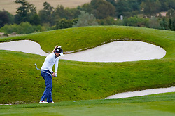 Auchterarder, Scotland, UK. 14 September 2019. Saturday afternoon Fourballs matches  at 2019 Solheim Cup on Centenary Course at Gleneagles. Pictured; Annie Park of Team USA hits approach to the 8th green. Iain Masterton/Alamy Live News