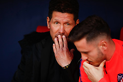 March 9, 2019 - Madrid, MADRID, SPAIN - Diego Pablo Simeone, coach of Atletico de Madrid, and Saul Niguez of Atletico de Madrid during the spanish league, La Liga, football match played between Atletico de Madrid and CD Leganes at Wanda Metropolitano Stadium in Madrid, Spain, on March 9, 2019. (Credit Image: © AFP7 via ZUMA Wire)