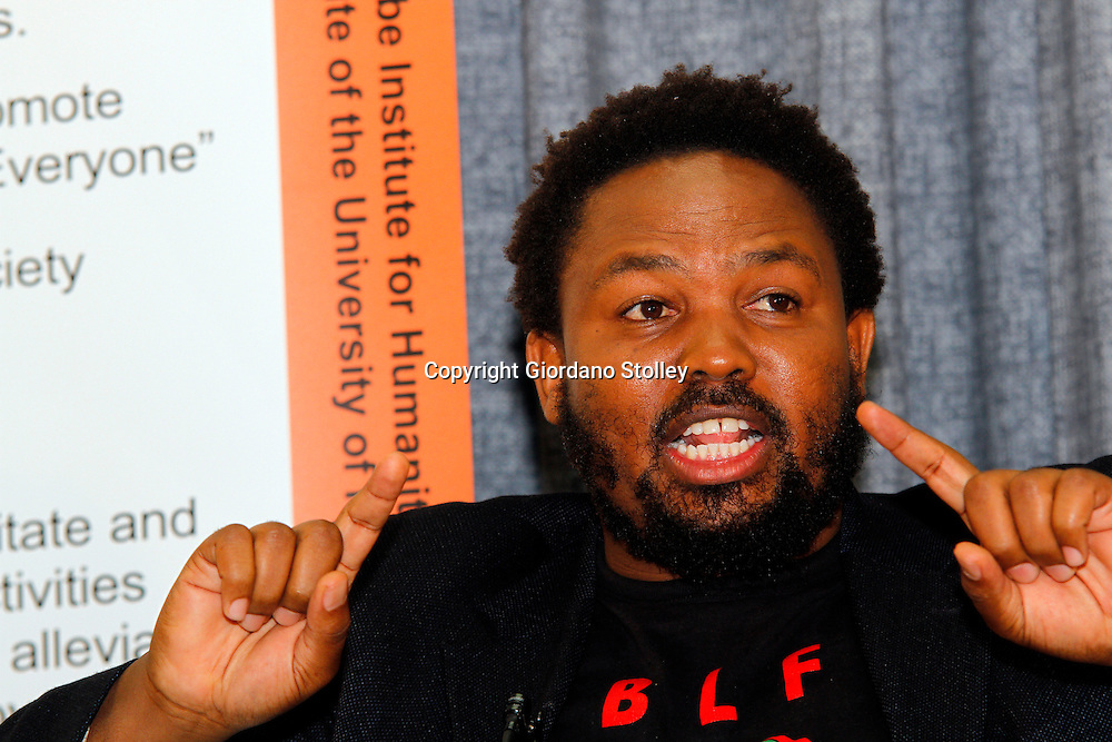 DURBAN - 17 June 2016 - Andile Mngxitama, the national convener of Black First Land First party which advocates the seizure of all land from whites in South Africa, speaks at a debate on South Africa's land reform process at the University of KwaZulu-Natal. Picture: Allied Picture Press/APP