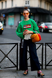 Street style, Claire Laffut arriving at Kenzo Spring-Summer 2019 menswear show held at Maison de la Mutualite, in Paris, France, on June 24th, 2018. Photo by Marie-Paola Bertrand-Hillion/ABACAPRESS.COM