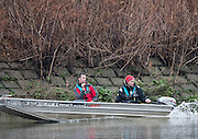Hammersmith, GREATER LONDON. United Kingdom Cambridge University  Boat  Club, Trial Eights for the 2017 Boat Race The Championship Course, Putney to Mortlake on the River Thames.<br /> <br /> Monday  12/12/2016<br /> <br /> [Mandatory Credit; Peter SPURRIER/Intersport Images]                                               CUBC Coaches' {L}. Richard CHAMBERS and {R} Steve TRAPMORE.  CUBC Trial VIII's between TWO G's on Surrey in all blue tops and ONE T on Middlesex in blue tops with white sleeves.<br /> <br /> TWO G's, Bow, Felix Newman, 2, Patrick Elwood, 3, Simon Buechele, 4, Peter Rees, 5, Charlie Fisher, 6, Tim Tracy, 7, Ben Ruble, Stroke, Freddie Davidson. Cox, Ian Middleton.<br /> <br /> ONE T, Bow, Louis Margot, 2, Sam Wilson, 3, Sam Ringer, 4, Jim Letten, 5, Robin Ponte, 6, Sash Maolwany, 7, Piers Kasas, Stroke, Henry Meek, Cox, Hugo Ramambason.