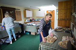 Embargoed to 0001 Monday August 28 Sandwiches and snacks are prepared in the club house during the annual friendly match between Cravens Cavaliers and Lynton & Lynmouth Cricket Club at the ground based inside the Valley of Rocks, North Devon, on Saturday August 5th, 2017.