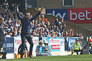 Southend United manager Kevin Bond gestures for the final whistle during the EFL Sky Bet League 1 match between Southend United and Burton Albion at Roots Hall, Southend, England on 22 April 2019.