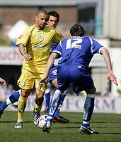 Photo: Mike Greenslade..Cardiff City v Sheffield Wednesday..Coca Cola Championship League..07.04.07..Ninian Park..KO 3pm... Owls striker Deon Burton runs at the Cardiff Defence