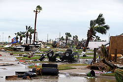 August 26, 2017 - Port Aransas, Texas, U.S. - A mobile home park is destroyed after Hurricane Harvey blew into the Coast Bend area. (Credit Image: © Gabe Hernandez/TNS via ZUMA Wire)