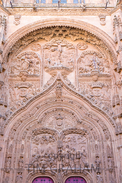 Ornate stone carving of doorway of Cathedral of Salamanca, Spain