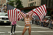 A flag performer in the 2011 Pride Parade on New York's Fifth Avenue.