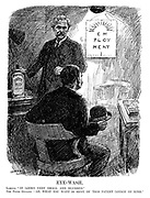 "Eye-Wash. Labour. ""It looks very small and blurred."" The Prime Oculist. ""Ah, what you want is some of this patent lotion of mine."" (cartoon showing a short-sighted Labour looking at an eye test that reads EMPLOYMENT while Ramsay MacDonald offers him Soviet Treaty Lotion during the InterWar era)"