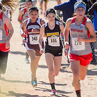 Ramah Mustang Kiana Chavez moves through the pack on her way to a second-place finish in the girls 1-2A race in the New Mexico State meet at Rio Rancho High School Saturday