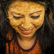 In India Turmeric is known as 'Haldi' and is considered very holy. Its yellow colour is also believed to be auspicious according to Hindu tradition. The Haldi ceremony is one of the most significant traditions of Hindu marriages.  (2) The application of turmeric is meant to beautify the bride and groom and give a glow to the skin. The ceremony is usually performed one day before the wedding as turmeric powder is mixed with milk or almond oil along with sandal wood powder and applied to bride and bridegroom. Jaipur, 2014