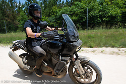 Sean Lichter on a Sunday ride with brand new Harley-Davidson Pan-America adventure bikes on roads around the Tennessee Motorcycles and Music Revival at Loretta Lynn's Ranch. Hurricane Mills, TN, USA. May 23, 2021. Photography ©2021 Michael Lichter.