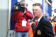 Manchester United Manager Louis van Gaal arrives under the watchful eye of television cameras at Loftus Road Stadium  before k/o. Barclays Premier league match, Queens Park Rangers v Manchester Utd at Loftus Road in London on Saturday 17th Jan 2015. pic by John Patrick Fletcher, Andrew Orchard sports photography.