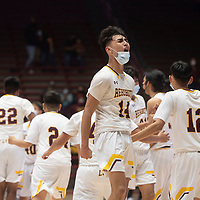 Rehoboth Lynx Talon West celebrates as he comes off the court as the Lynx defeat the Jal Panthers 55-50 in the New Mexico Class 2A boys basketball state final at The Pit in Albuquerque Friday to become state champions.