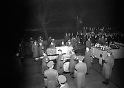 """Removal of Seán T. O'Kelly,  former President of Ireland. The Archbishop of Dublin, the Most Rev. John C. McQuaid D.D. recieved the remains on arrival at the Pro-Cathedral. As the procession moved into the church the choir of Holy Cross College, Clonliffe, under it's director, Rev. John Piert, sang the """"Sub Venite""""..24.11.1966"""