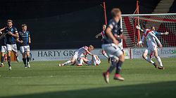 Airdrie's Grant Gallagher on ground after being hit by Raith Rovers Iain Davidson (4, who then got a red card from ref Alan Newlands. Airdrie 3 v 4 Raith Rovers, Scottish Football League Division One played 25/8/2018 at the Excelsior Stadium.
