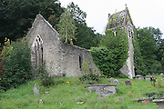 UK, Wales, Llanfair Kilgeddin, the ruins of the medieval Church of St Mary the Virgin. Rebuilt in 1866 and destroyed by fire in 1977