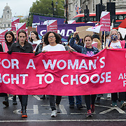 Abortion Rights count attacks by anti-abortion in Trafalgar square march to US embassy, London, UK. 2 October 2021.