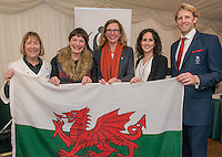 Andrew Triggs Hodge with WWF Wales staff and  Welsh award winners Catherine Fookes and Jane Cook during the WWF UK Earth Hour 10th Anniversary Parliamentary Reception, Terrace Pavilion, Palace of Westminster. 28th Feb. 2017