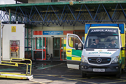 © Licensed to London News Pictures. 06/03/2018. Salisbury, UK. Ambulances wait outside the Accident & Emergency department at Salisbury District hospital where former Russian spy Sergei Skripal and his daughter were taken after becoming ill with suspected poisoning. The couple where found unconscious on bench in Salisbury shopping centre. Specialist units have been called in to deal with any possible contamination. Photo credit: Peter Macdiarmid/LNP