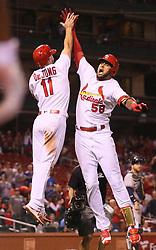 September 29, 2017 - St Louis, MO, USA - The St. Louis Cardinals' Jose Martinez, right, celebrates with Paul DeJong after he drove in DeJong with a two-run home run in the ninth inning against the Milwaukee Brewers on Friday, Sept. 29, 2017, at Busch Stadium in St. Louis. The Brewers won, 5-3. (Credit Image: © Chris Lee/TNS via ZUMA Wire)