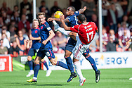 Alex Penny of Hamilton Academical FC (#17) challenges Uche Ikpeazu of Heart of Midlothian during the Ladbrokes Scottish Premiership League match between Hamilton Academical FC and Heart of Midlothian FC at New Douglas Park, Hamilton, Scotland on 4 August 2018. Picture by Malcolm Mackenzie.