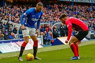 Rangers Eros Grezda faces Greg Taylor of Kilmarnock during the Ladbrokes Scottish Premiership match between Rangers and Kilmarnock at Ibrox, Glasgow, Scotland on 16 March 2019.
