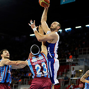 Anadolu Efes's Nenad Krstic (2ndR) during their Turkish Basketball League Play Off Semi Final round 2 match Anadolu Efes between Trabzonspor at Abdi Ipekci Arena in Istanbul Turkey on Friday 31 May 2015. Photo by Aykut AKICI/TURKPIX