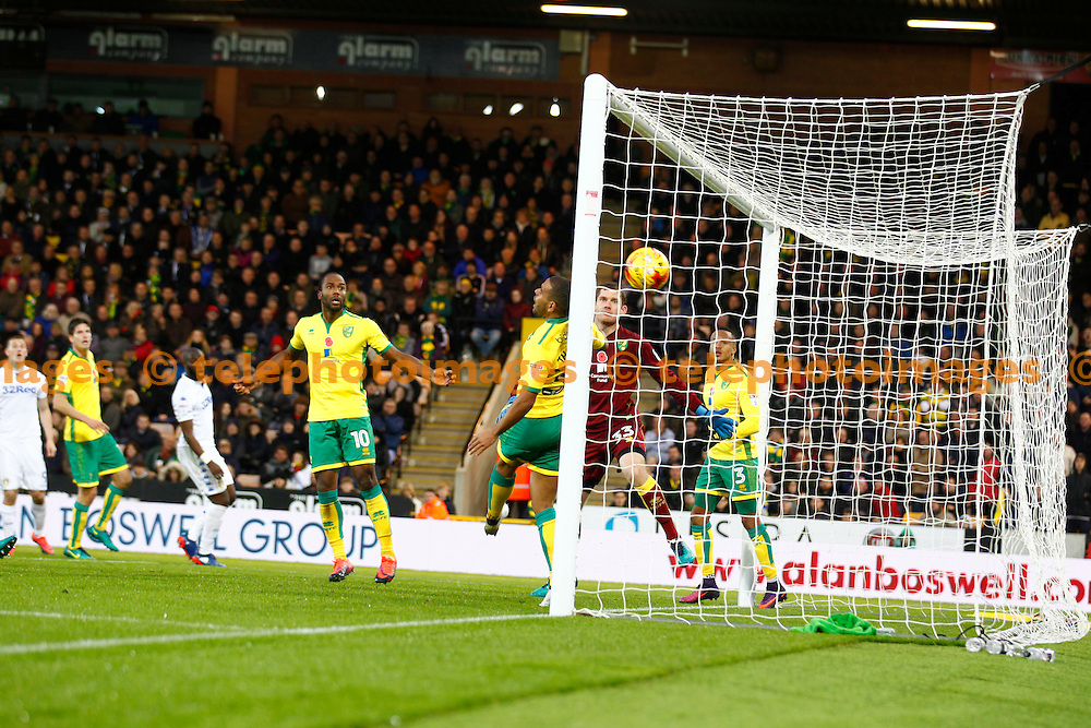 Leeds United's Pontus Jansson scores the first goal during the Sky Bet Championship match between Norwich City and Leeds United at Carrow Road in Norwich. December 5, 2016.<br /> John Marsh / Telephoto Images<br /> +44 7967 642437