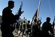 Palestinian soldiers parading to celebrate the first anniversary of the death of former Palestinian leader Yasser Arafat at the Palestinian Authority (PA) headquarter, last residence and burial site of Yasser Arafat, in the Palestinian capital Ramallah, on Friday, Nov. 11, 2005. Here a mausoleum and a museum in his honour will be built soon. **ITALY OUT**