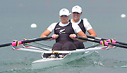 FISA World Cup Rowing Munich Germany..28/05/2004..Peter Spurrier.NZL W2X Bow Georgina and Caroline Evers-Swindell. [Mandatory Credit: Peter Spurrier: Intersport Images].