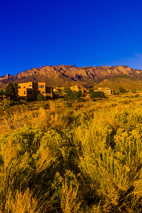 Houses on Simms Park Road with the Sandia Mountains (Cibola National Forest) in background, Albuquerque, New Mexico USA