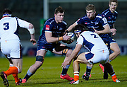 Sale Sharks flanker Cobus Wiese runs at the Edinburgh Rugby defence during the European Champions Cup match Sale Sharks -V- Edinburgh Rugby at The AJ Bell Stadium, Greater Manchester,England United Kingdom, Saturday, December 19, 2020. (Steve Flynn/Image of Sport)