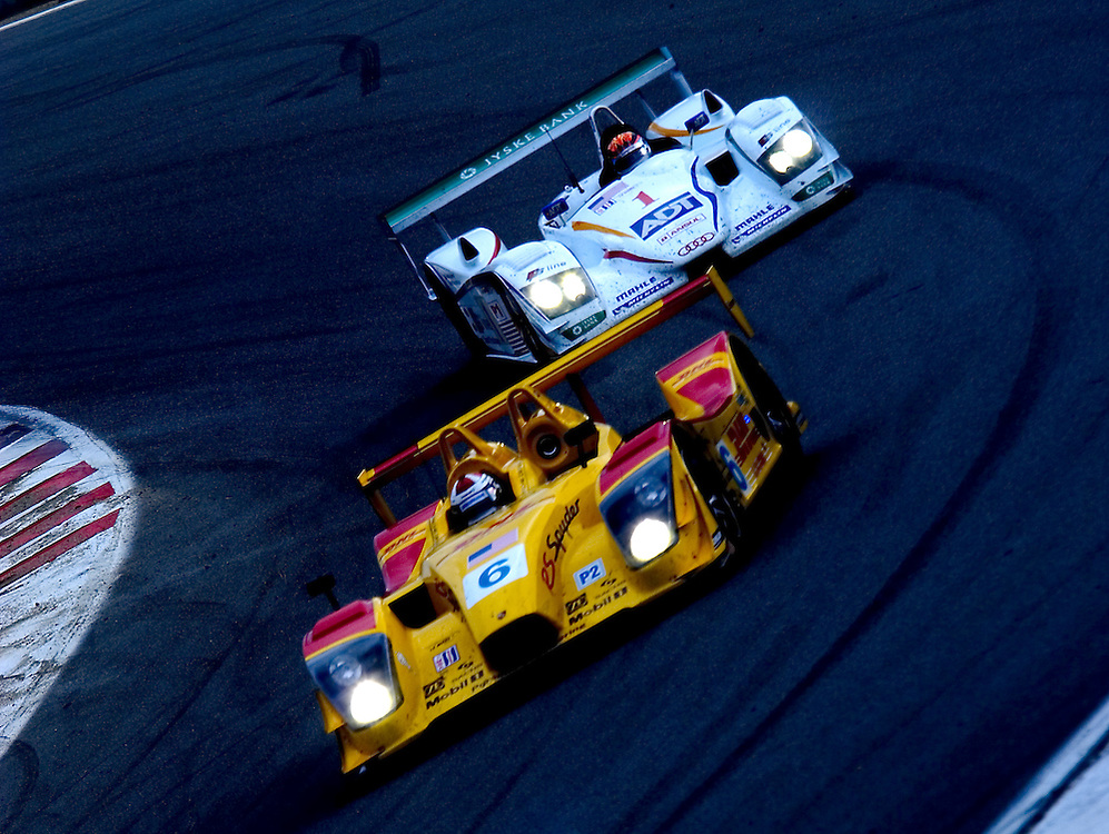 Porsche Spyder being chased by an Audi R8 at Laguna Seca, ALMS race Oct 15, 2005
