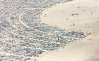 This aerial photograph of Black Rock City was shot on the morning of Friday August 31st, 2018 during Burning Man 2018. The pilot of the aircraft was Purple Haze.