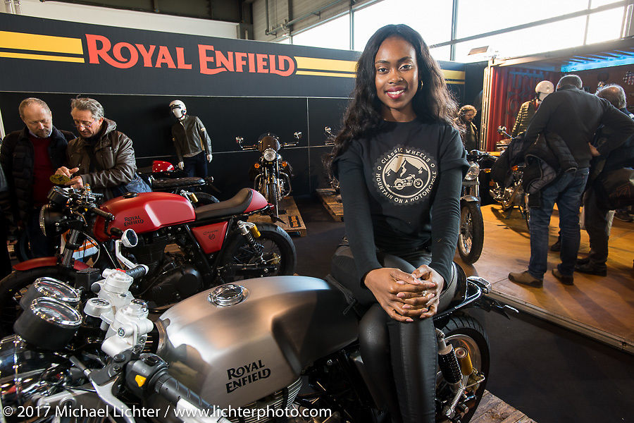 Royal Enfield Motorcycles display at Motor Bike Expo. Verona, Italy. Saturday January 21, 2017. Photography ©2017 Michael Lichter.
